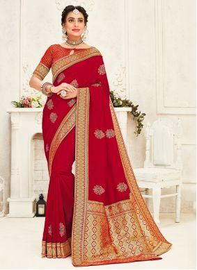 Embroidered Red Silk Classic Saree