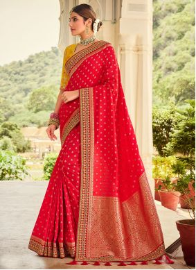 Embroidered Red Silk Traditional Designer Saree