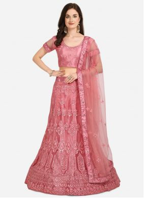 Pink Embroidered Sangeet A Line Lehenga Choli