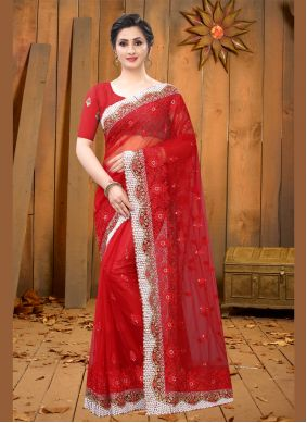 Red Embroidered Sangeet Contemporary Saree