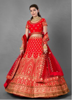 Embroidered Satin A Line Lehenga Choli in Red