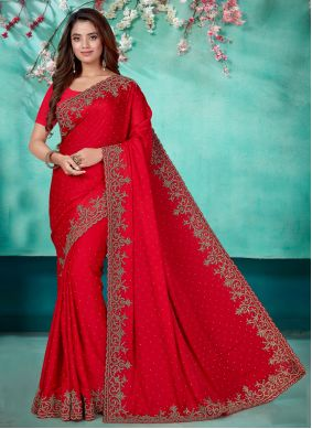 Embroidered Satin Classic Designer Saree in Red