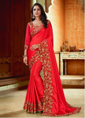 Embroidered Satin Red Bollywood Saree
