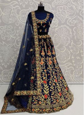 Embroidered Satin Silk A Line Lehenga Choli in Blue