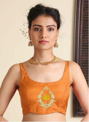 Embroidered Satin Silk Blouse in Orange