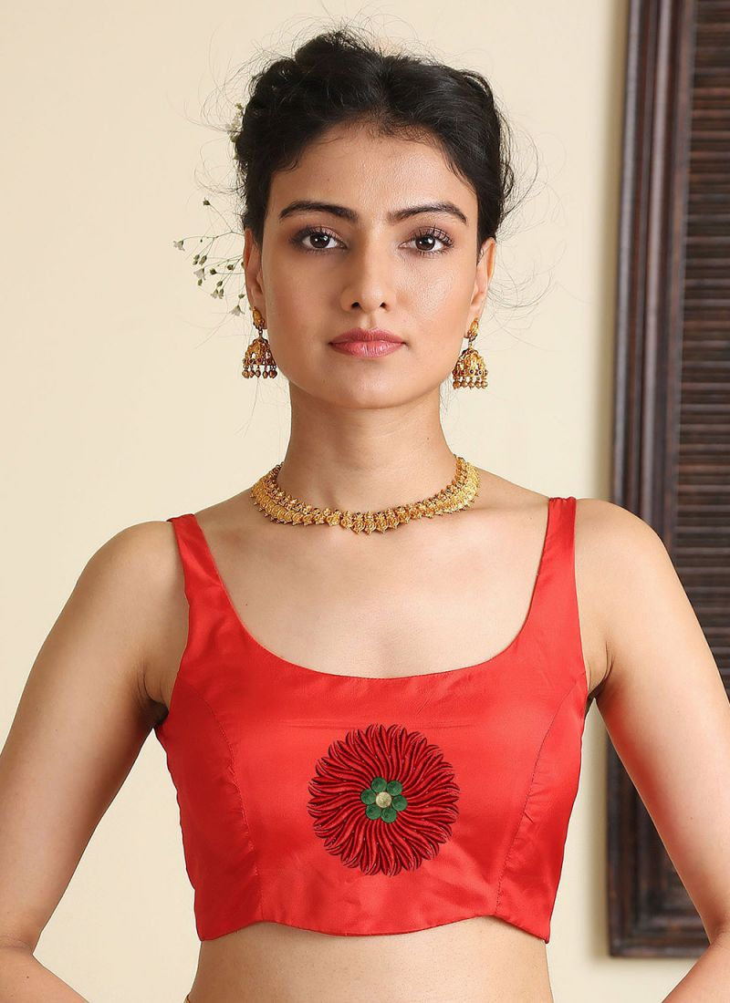 Embroidered Satin Silk Blouse in Red