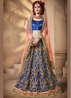 Embroidered Satin Silk Designer Lehenga Choli in Blue