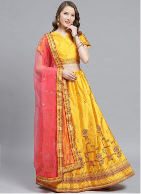 Yellow Embroidered Satin Trendy Lehenga Choli