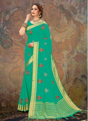 Embroidered Sea Green Designer Traditional Saree