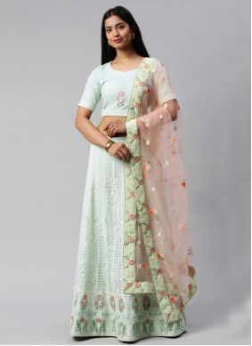 Embroidered Sea Green Faux Georgette Lehenga Choli