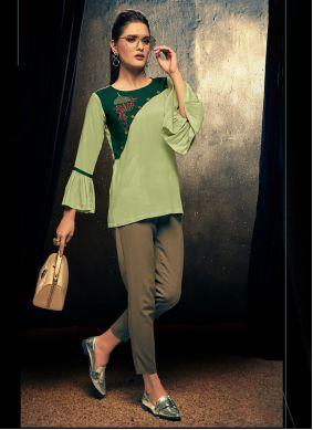 Embroidered Sea Green Party Wear Kurti
