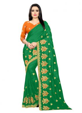 Embroidered Silk Classic Saree in Green