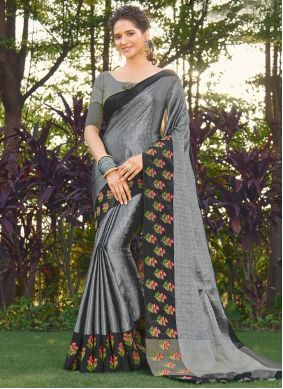 Embroidered Silk Designer Traditional Saree in Grey