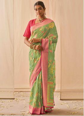Embroidered Silk Green Designer Traditional Saree