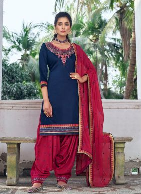 Embroidered Silk Navy Blue Designer Patiala Suit