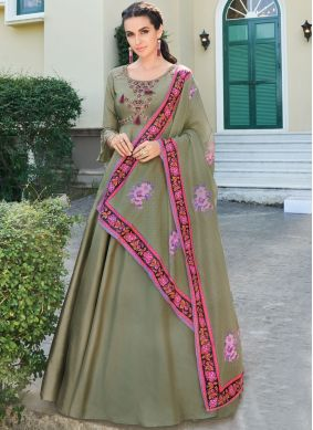 Embroidered Silk Readymade Designer Gown in Green