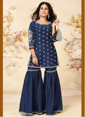 Blue Embroidered Silk Readymade Suit