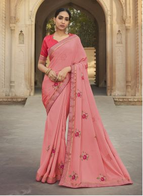 Embroidered Silk Rose Pink Traditional Saree