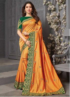 Yellow Embroidered Silk Traditional Saree