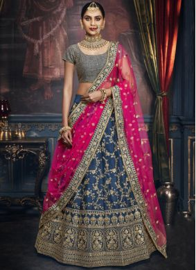 Embroidered Silk Trendy A Line Lehenga Choli in Blue