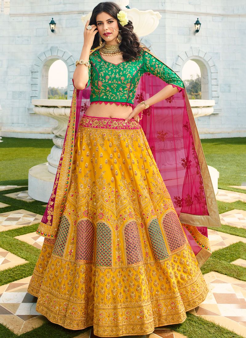 Embroidered Silk Trendy A Line Lehenga Choli in Yellow
