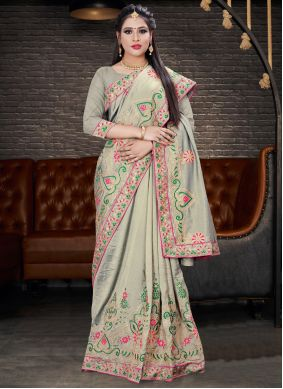 Embroidered Silk Trendy Saree in Grey