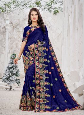 Embroidered Silk Trendy Saree in Navy Blue