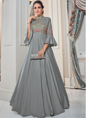 Embroidered Tafeta Silk Floor Length Gown