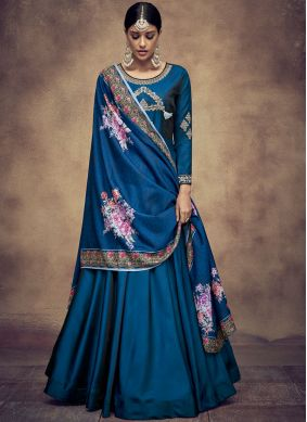 Embroidered Tafeta Silk Readymade Anarkali Suit in Blue