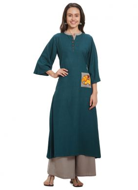 Embroidered Teal Casual Kurti