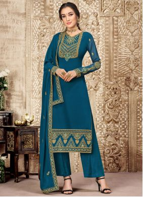 Embroidered Teal Palazzo Suit