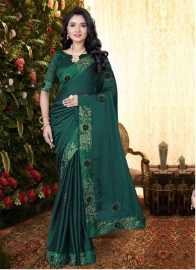 Embroidered Teal Silk Classic Saree