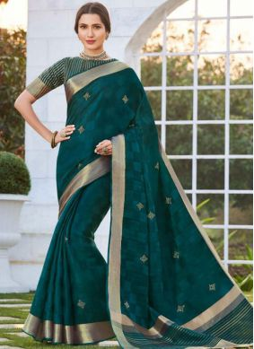 Embroidered Teal Traditional Saree