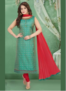 Embroidered Teal Trendy Salwar Suit