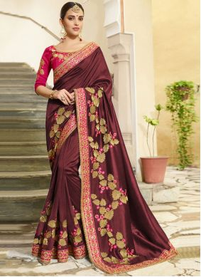 Wine Embroidered Traditional Designer Saree