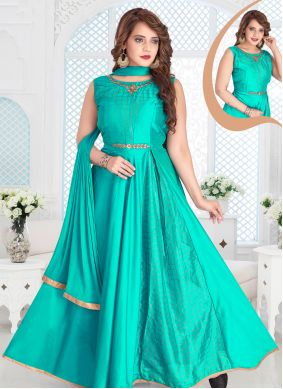 Embroidered Turquoise Chanderi Readymade Anarkali Suit