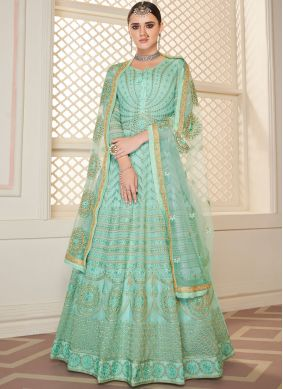 Embroidered Turquoise Faux Georgette Trendy Anarkali Salwar Kameez