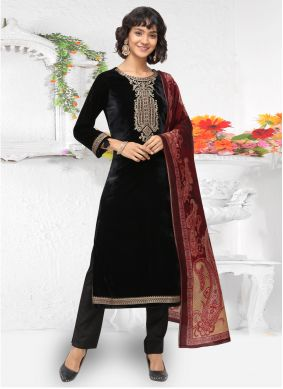 Embroidered Velvet Black Pant Style Suit