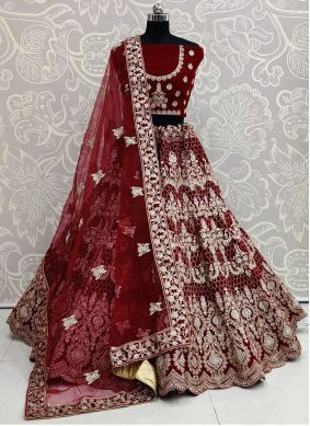 Embroidered Velvet Maroon Trendy Lehenga Choli