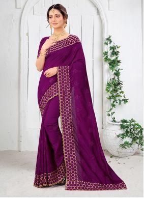 Embroidered Vichitra Silk Wine Saree