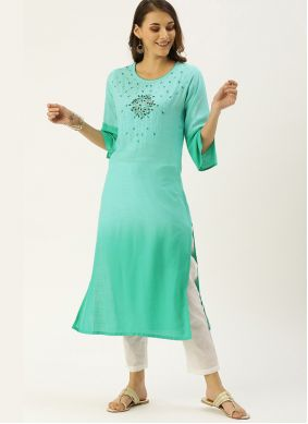 Green Embroidered Viscose Designer Kurti