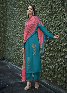 Embroidered Viscose Pant Style Suit in Aqua Blue