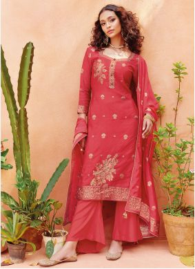 Embroidered Viscose Pant Style Suit in Pink