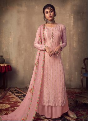 Embroidered Pink Wedding Designer Palazzo Salwar Suit