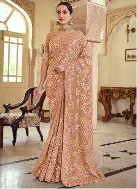 Brown Embroidered Wedding Designer Saree
