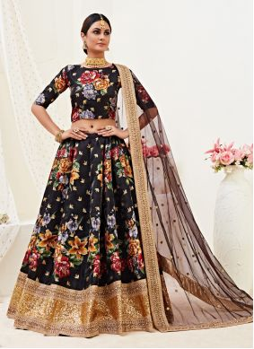 Black Embroidered Wedding Lehenga Choli