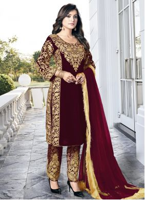 Wine Embroidered Wedding Pant Style Suit