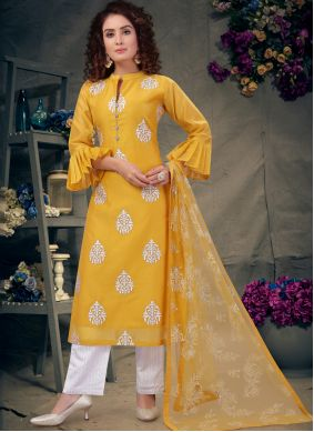 Embroidered Yellow Chanderi Salwar Suit