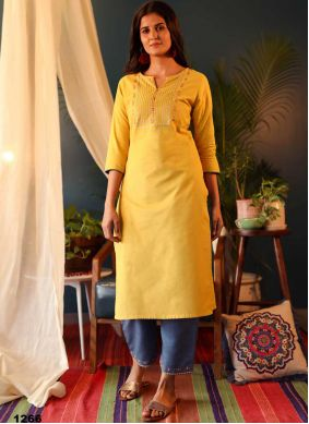 Embroidered Yellow Cotton Party Wear Kurti