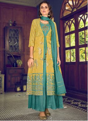 Embroidered Yellow Designer Suit